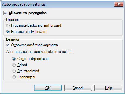 auto-propagation settings