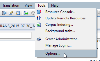 accessing memoQ's Tools menu