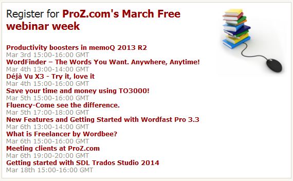 Proz.com's free webinar week in March